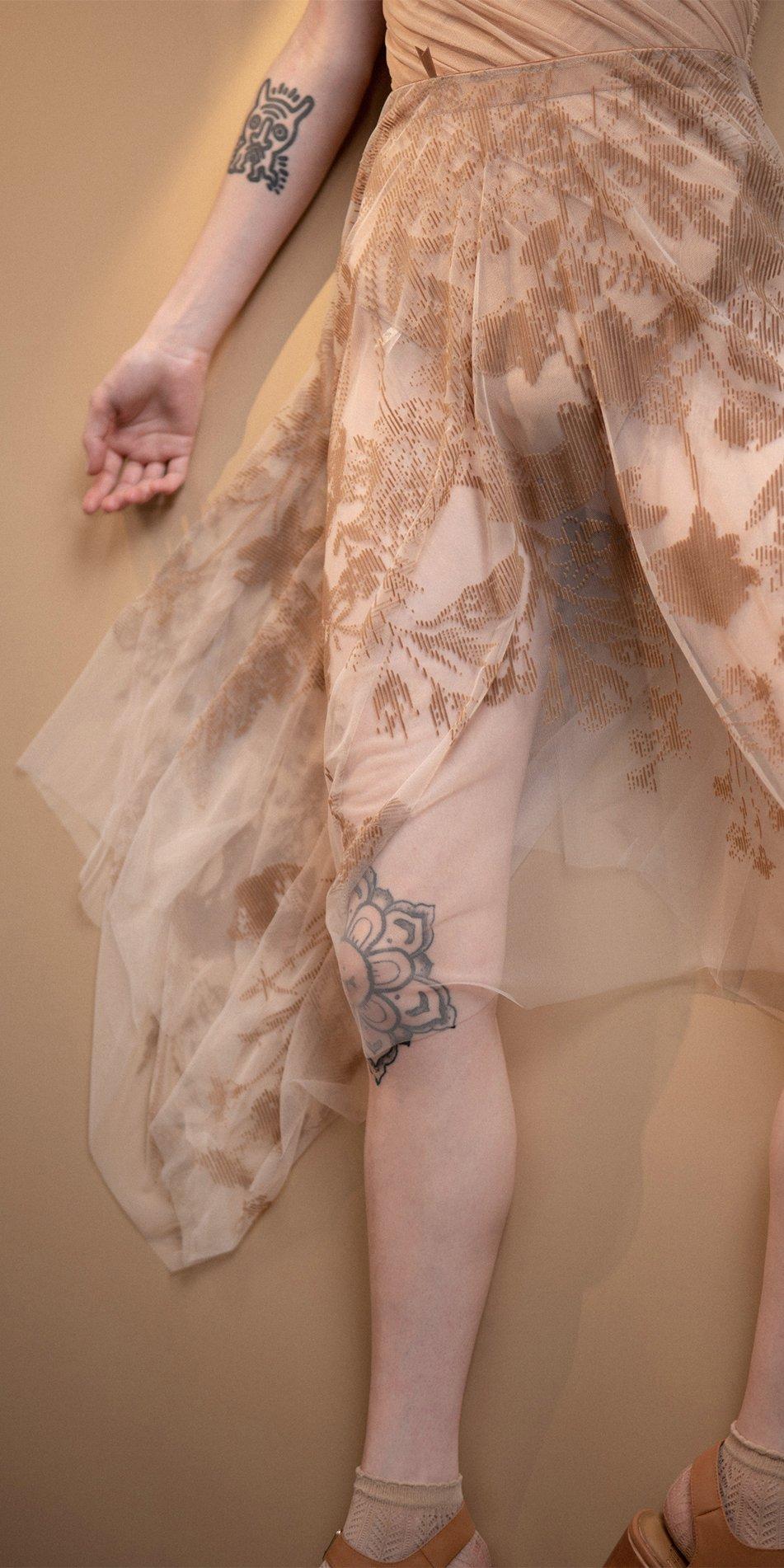BLOSSOMS nude second skin flock print skirt 15