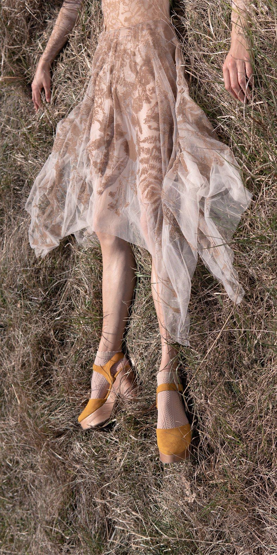 BLOSSOMS nude second skin flock print skirt 2