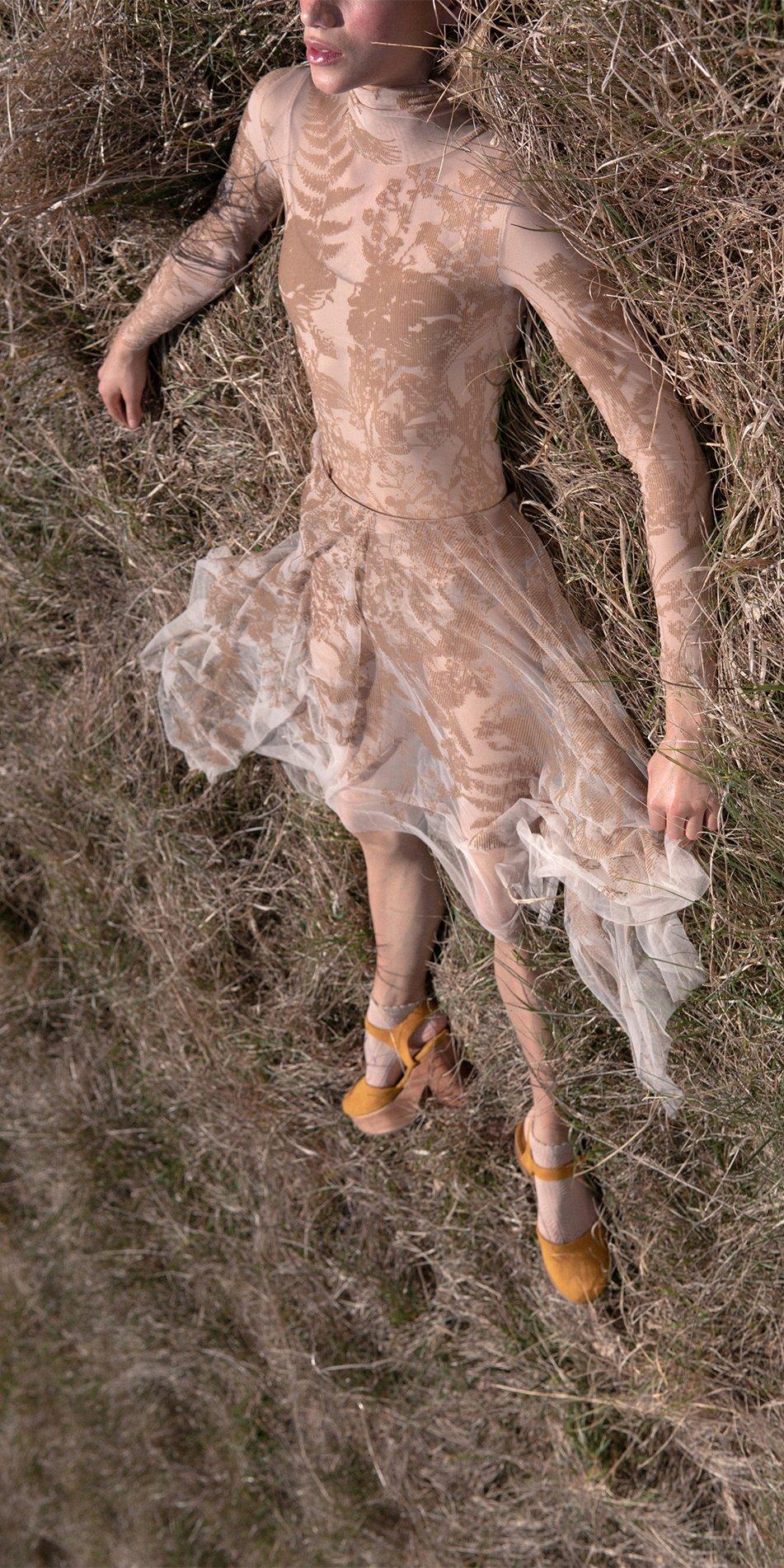 BLOSSOMS nude second skin flock print skirt 9