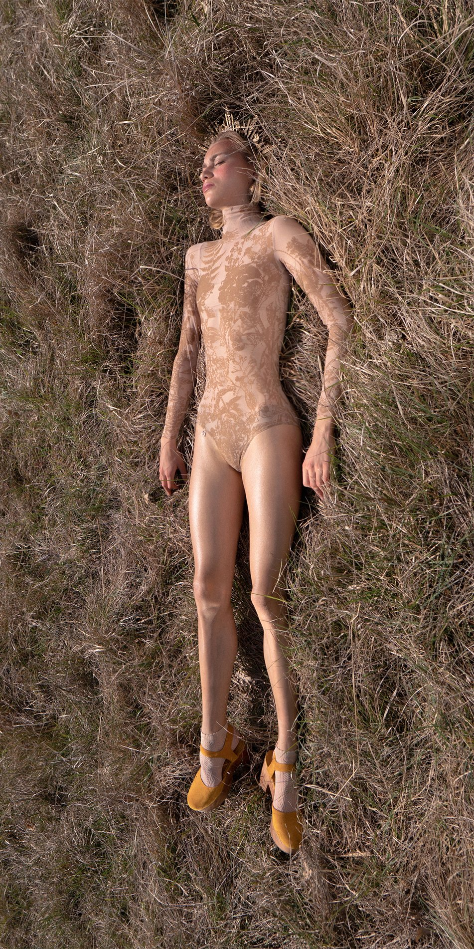 BLOSSOMS nude second skin flock print turtleneck bodysuit 1