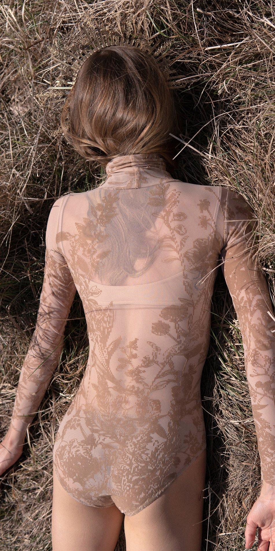 BLOSSOMS nude second skin flock print turtleneck bodysuit 3