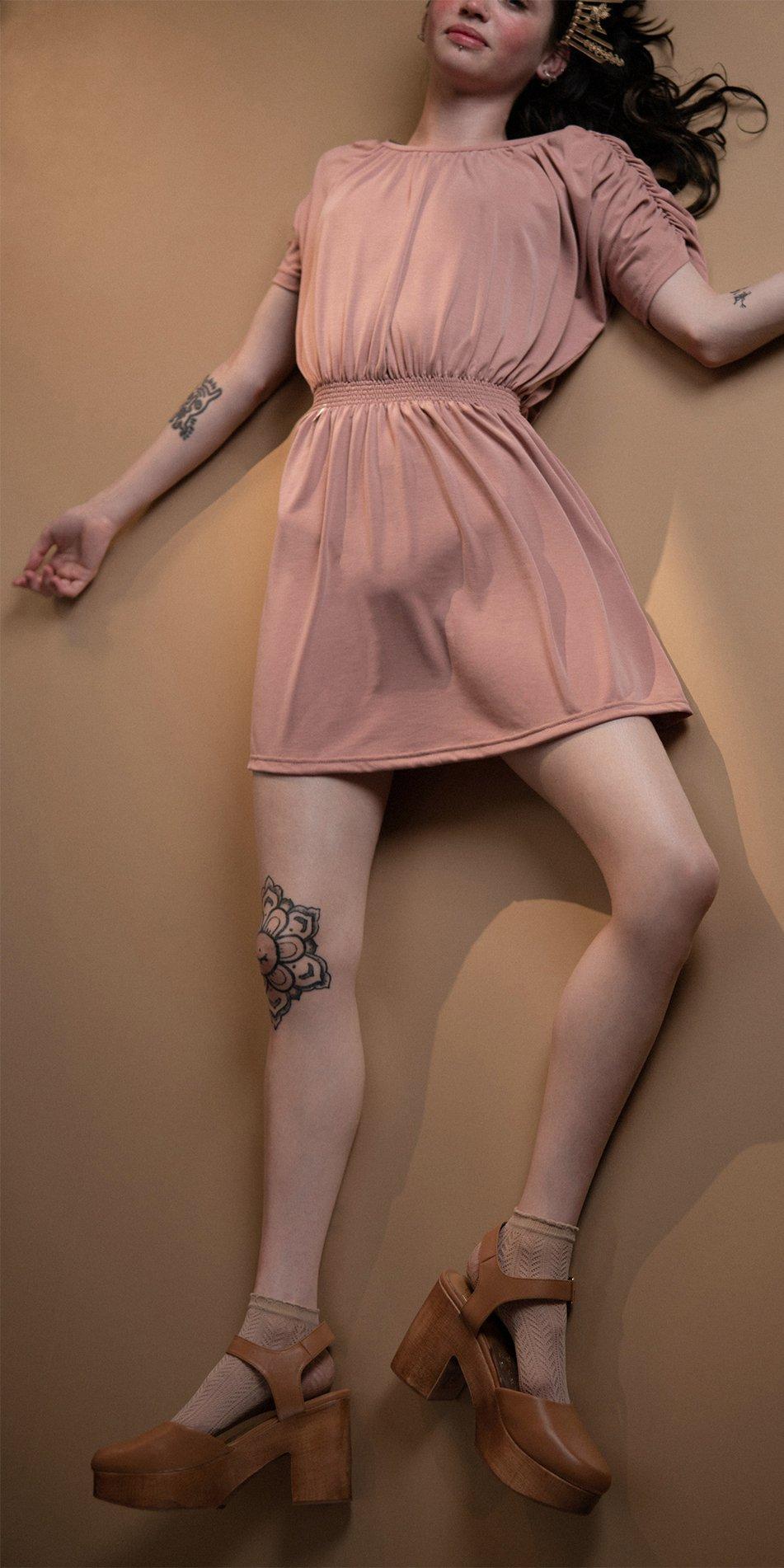 BOHO blush smocked dress 2