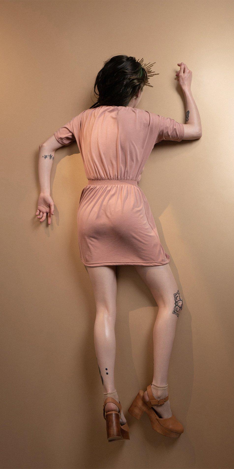 BOHO blush smocked dress 4