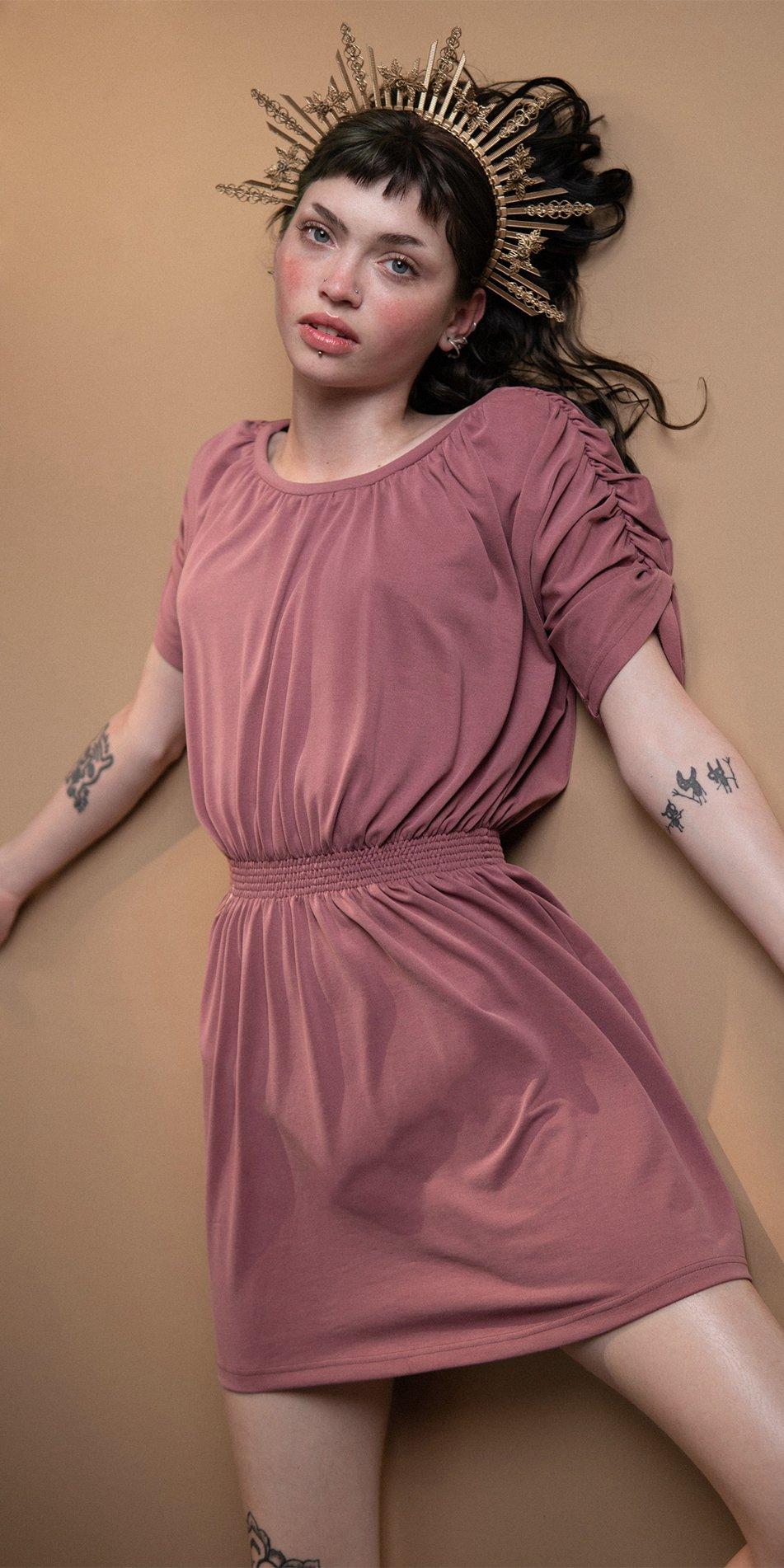 BOHO burgundy smocked dress 2