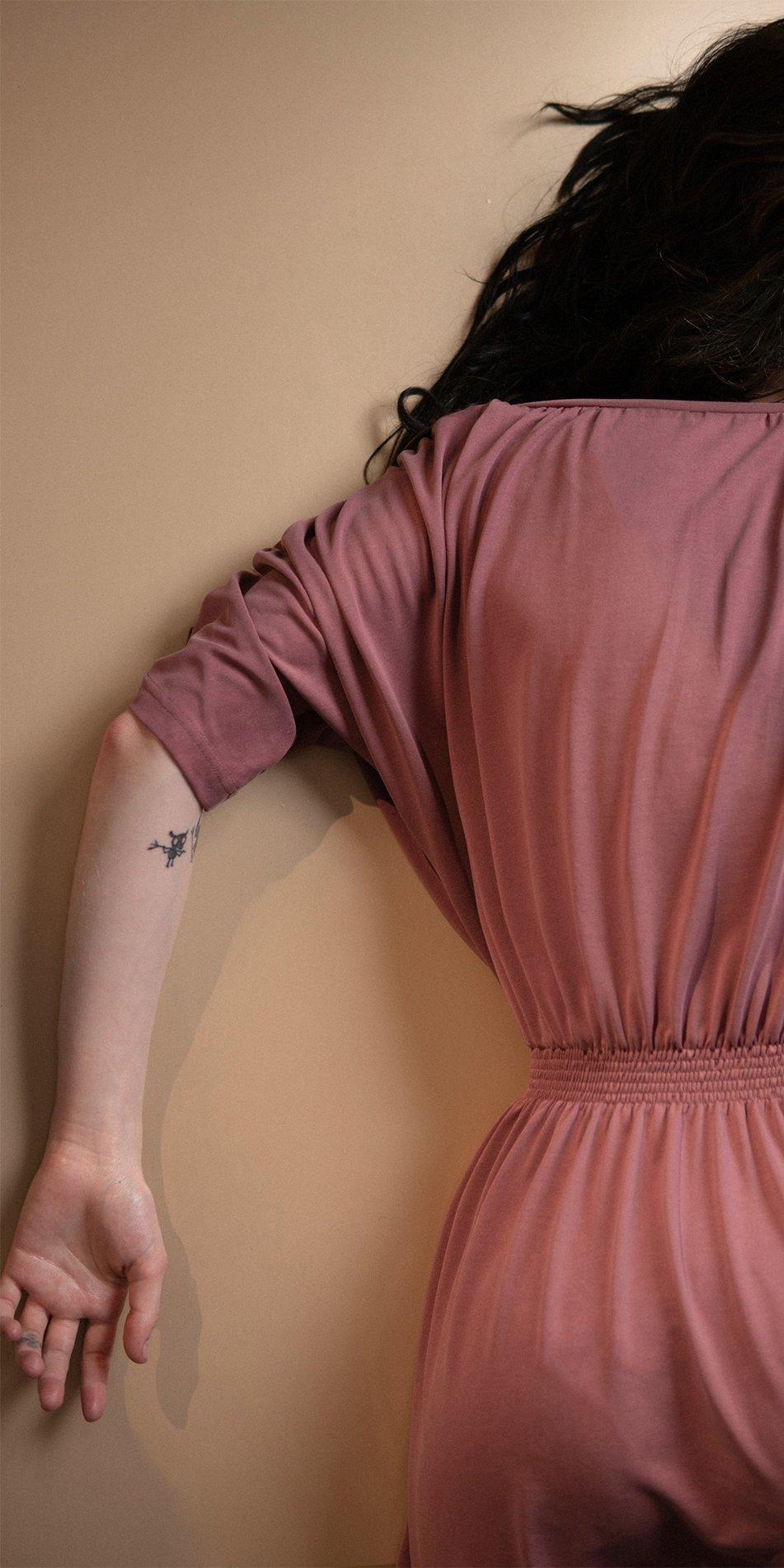 BOHO burgundy smocked dress 4