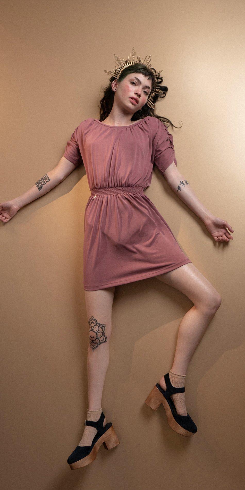 BOHO burgundy smocked dress 5