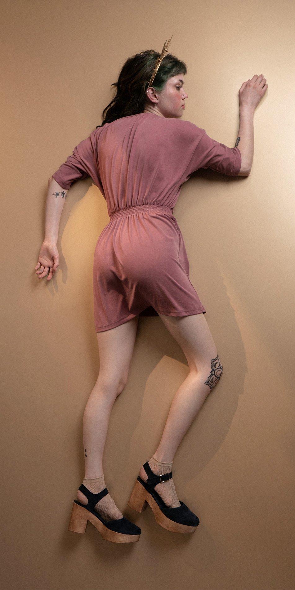 BOHO burgundy smocked dress 6