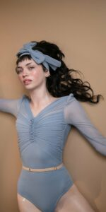 GRES blue draped leotard with long puff sleeves 11