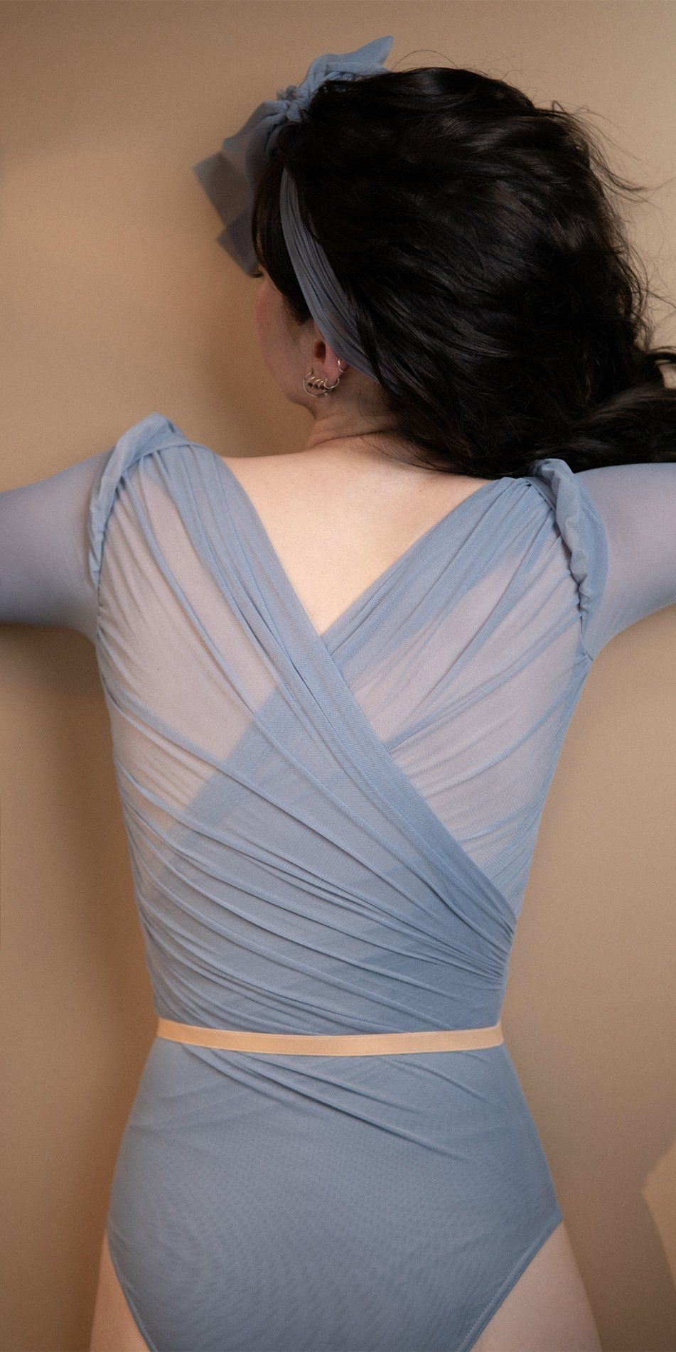 GRES blue draped leotard with long puff sleeves 12
