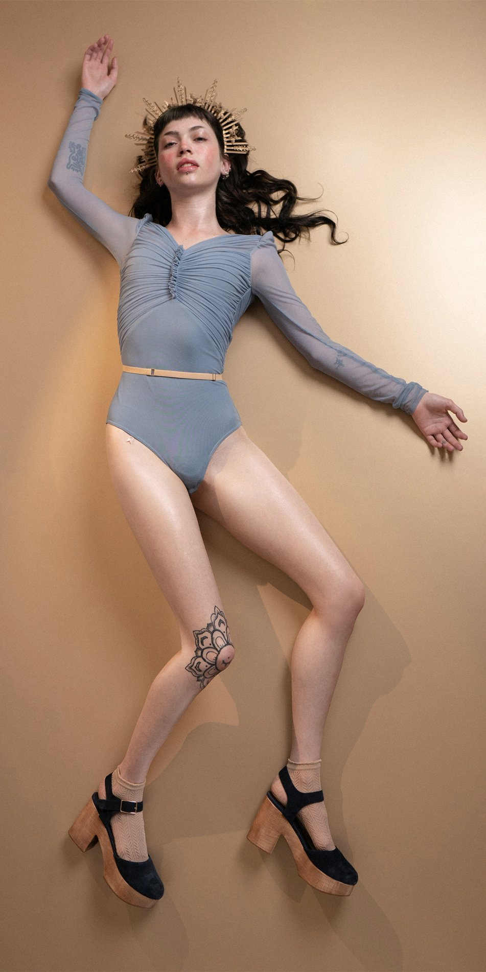 GRES blue draped leotard with long puff sleeves 13