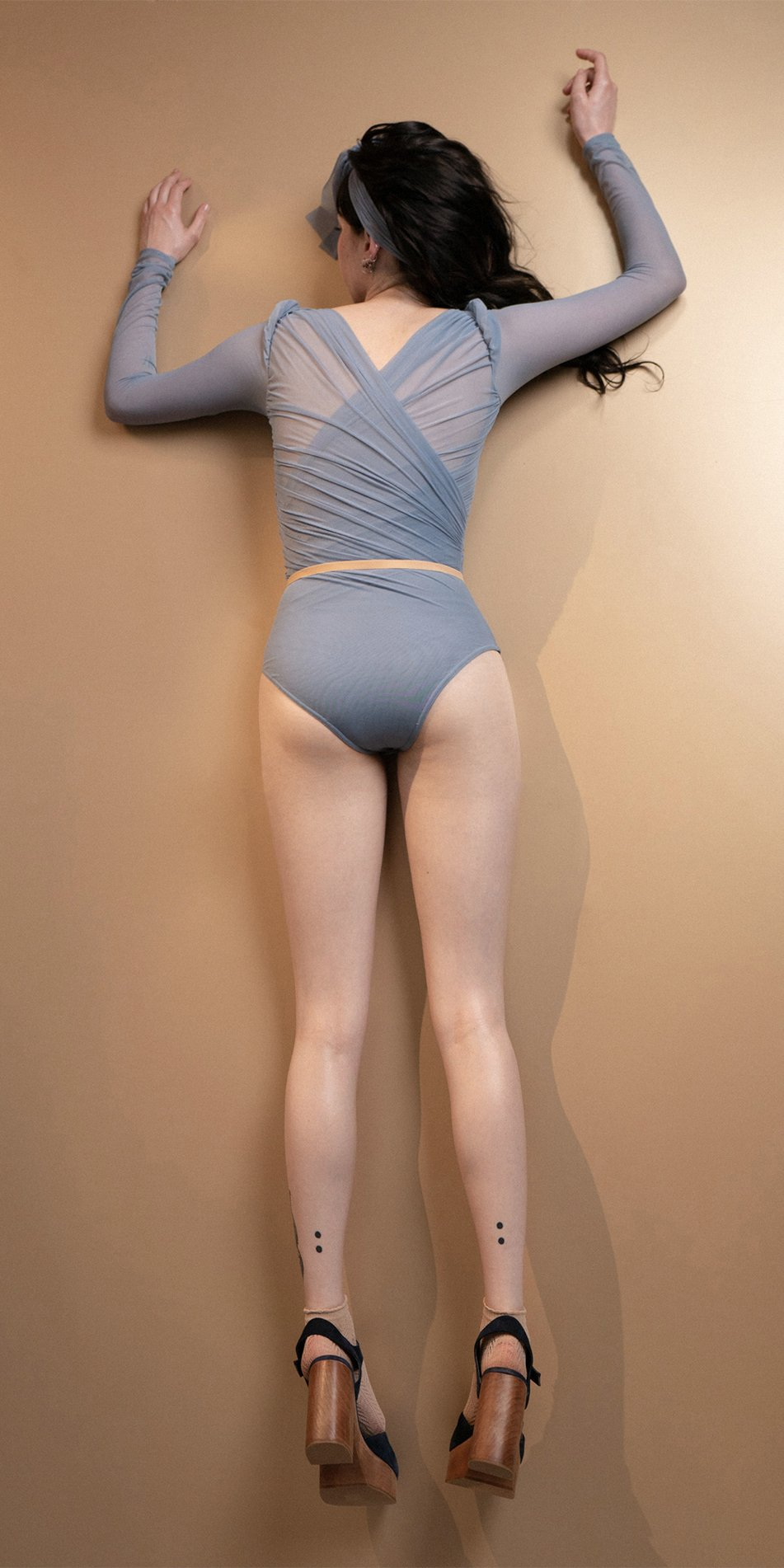 GRES blue draped leotard with long puff sleeves 14