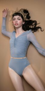 GRES blue draped leotard with long puff sleeves 7