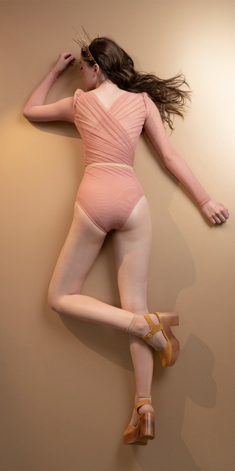 GRES blush draped leotard with long puff sleeves 2
