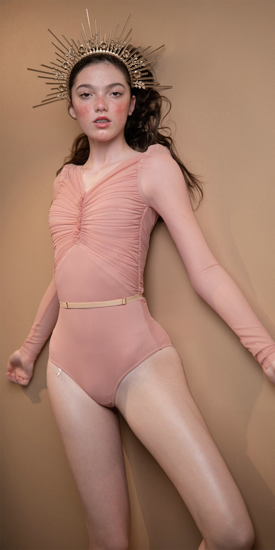 GRES blush draped leotard with long puff sleeves 3