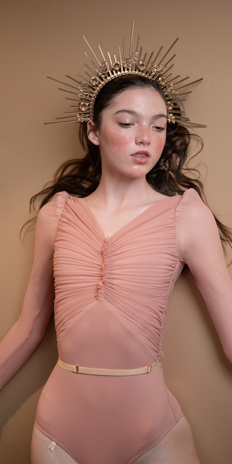 GRES blush draped leotard with long puff sleeves 4