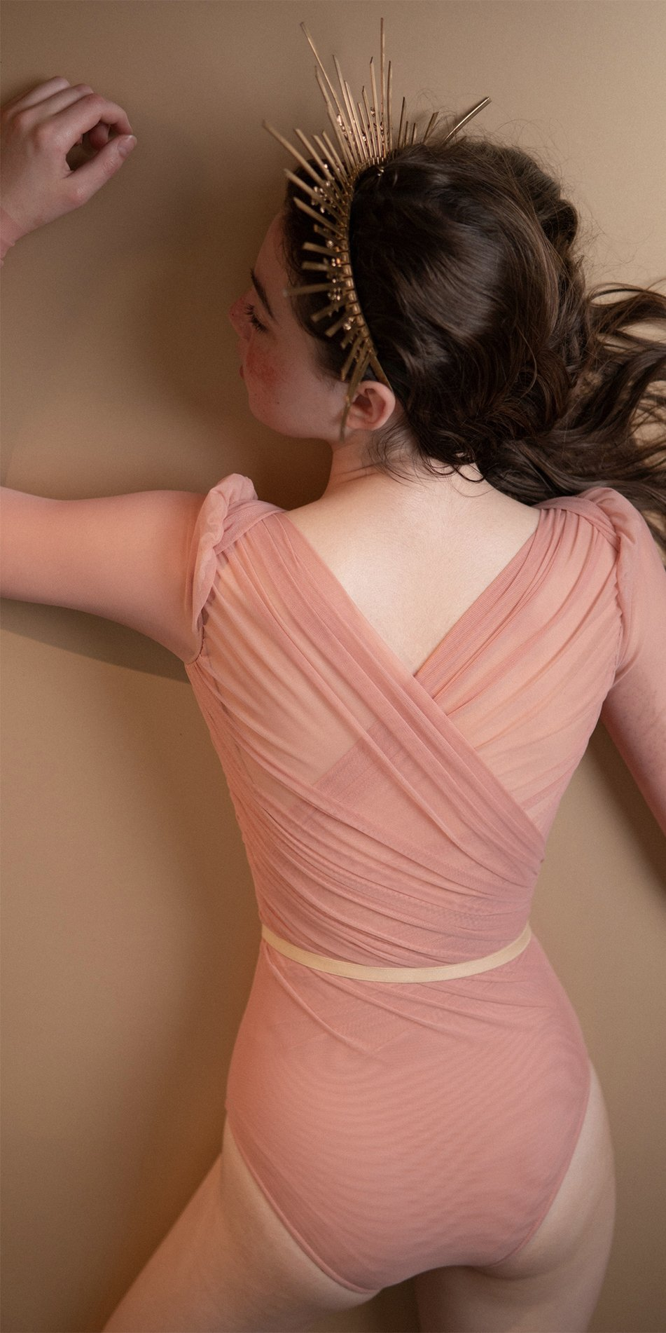 GRES blush draped leotard with long puff sleeves 7