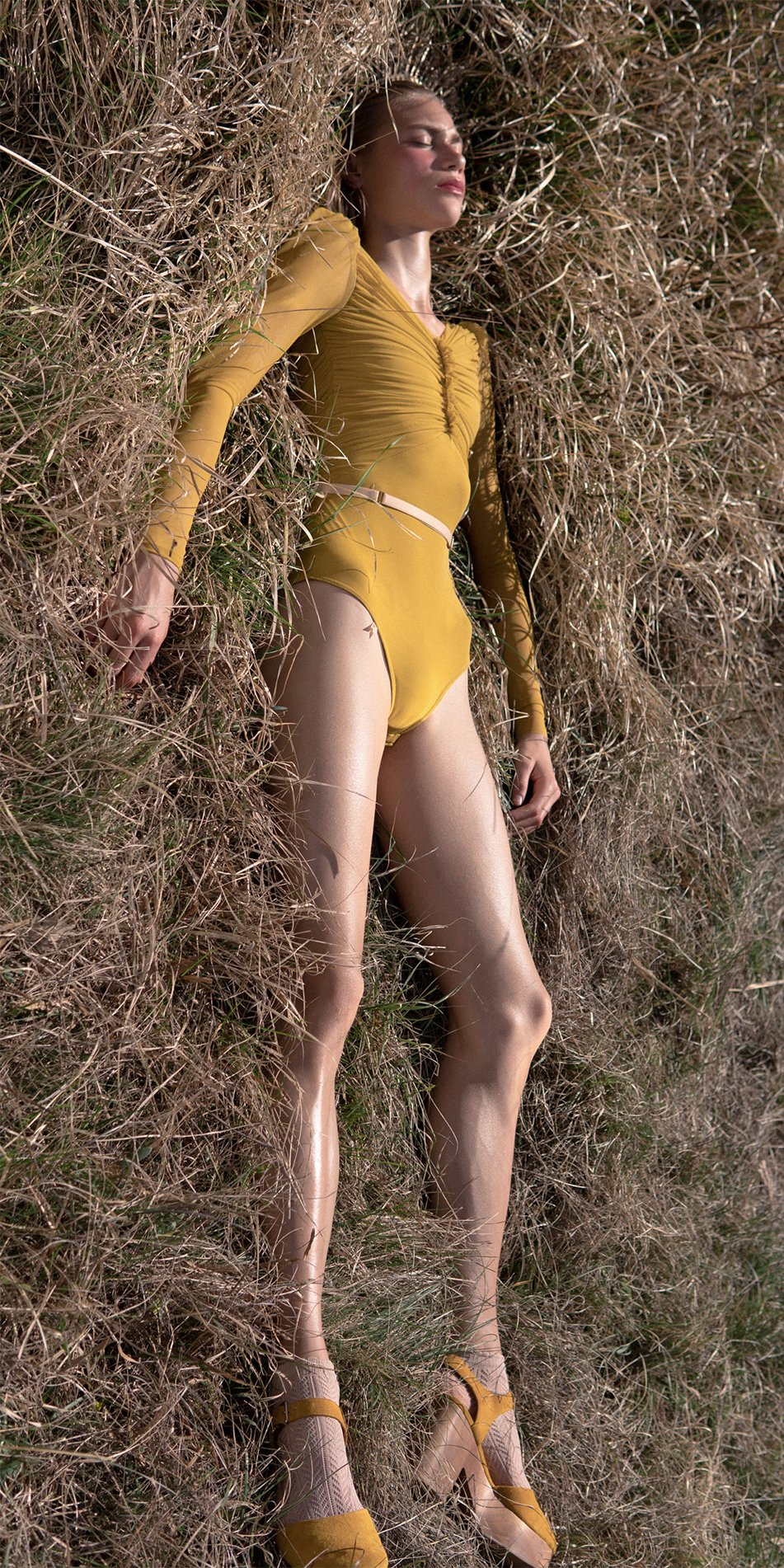 GRES mustard draped leotard with long puff sleeves 2