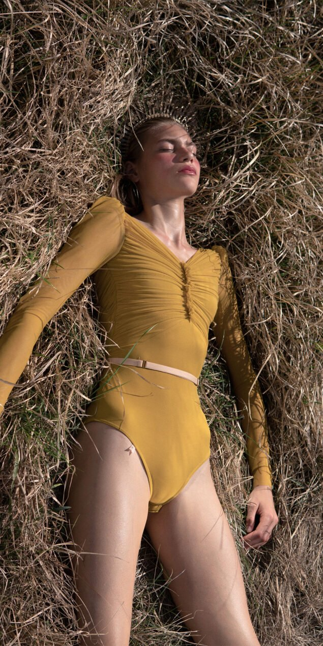 GRES mustard draped leotard with long puff sleeves 3
