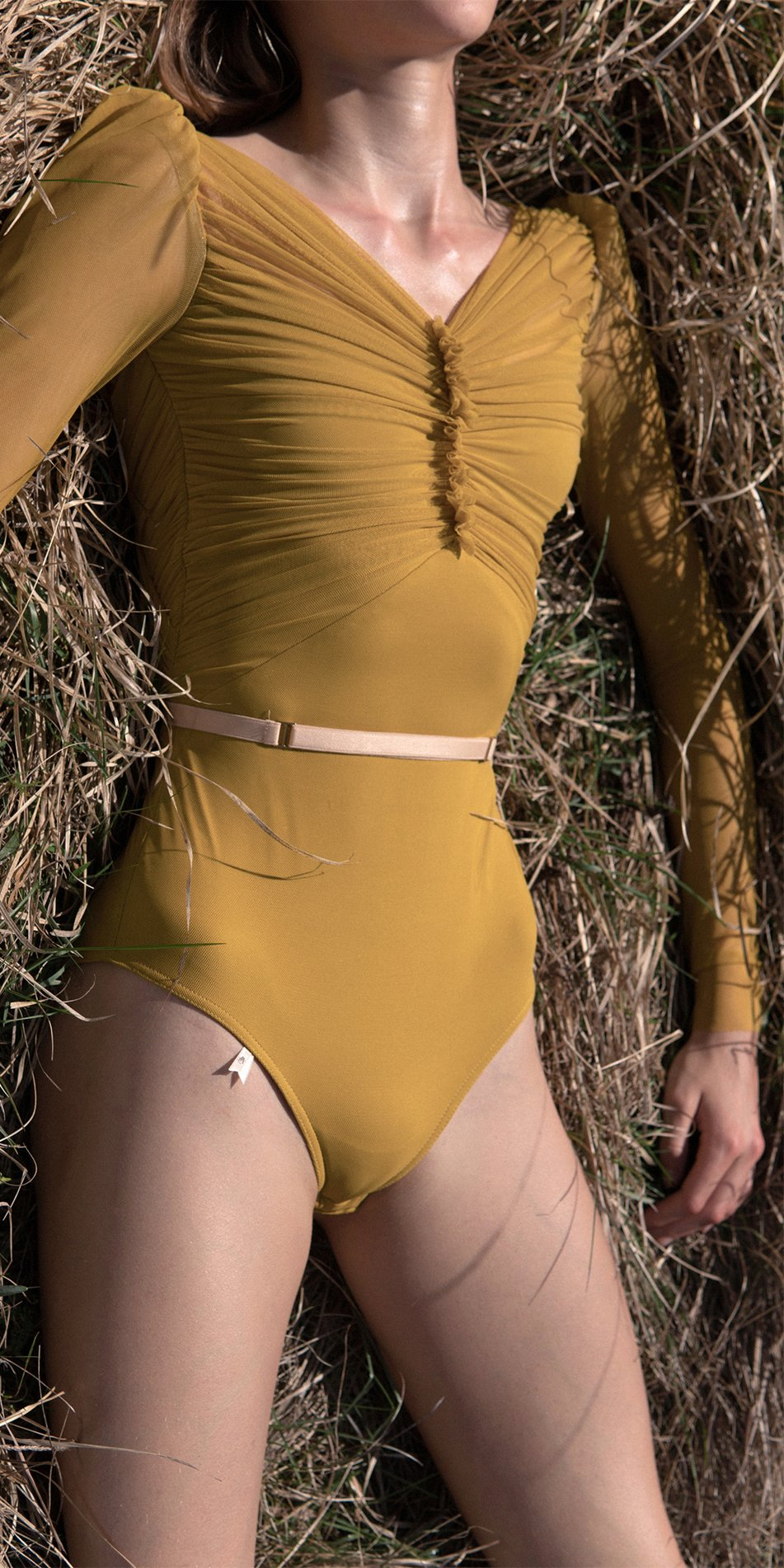 GRES mustard draped leotard with long puff sleeves 5
