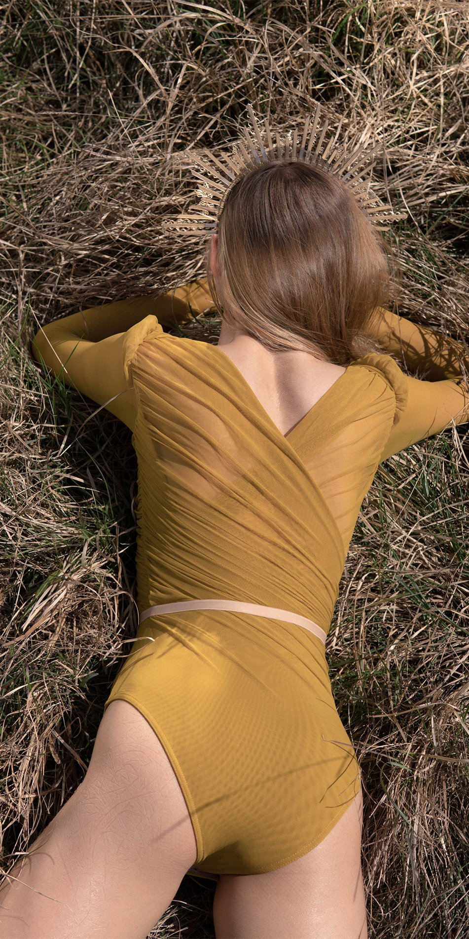 GRES mustard draped leotard with long puff sleeves 7