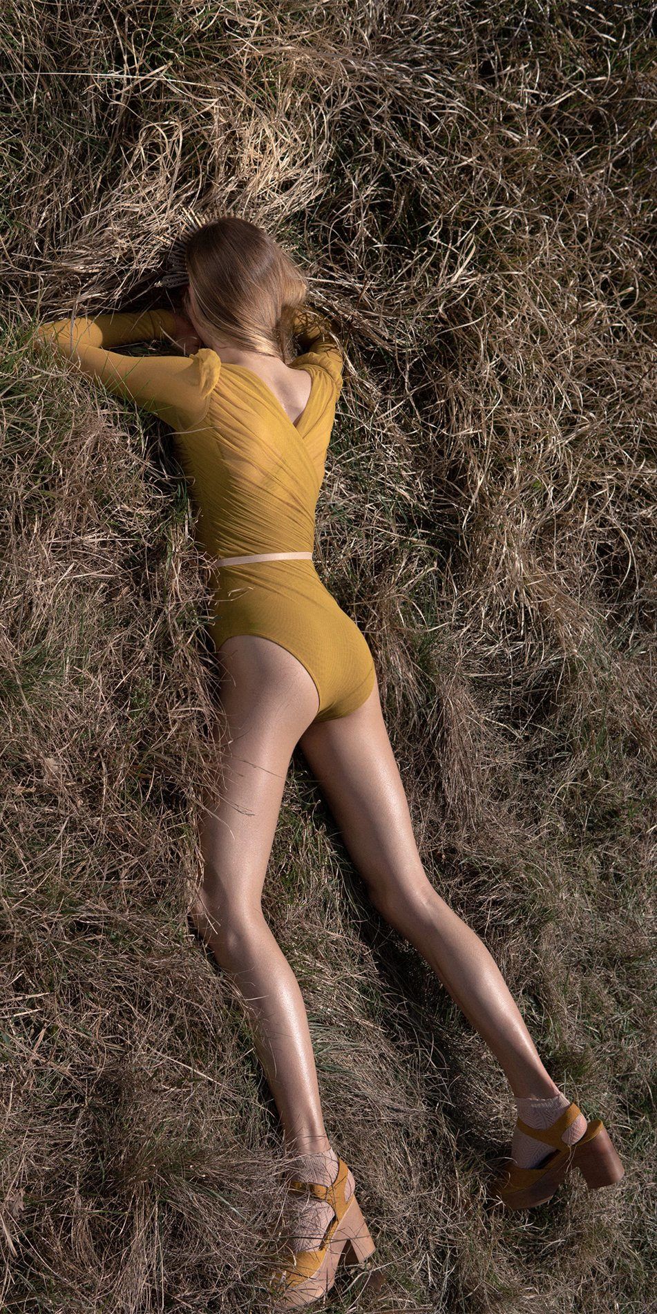GRES mustard draped leotard with long puff sleeves 8