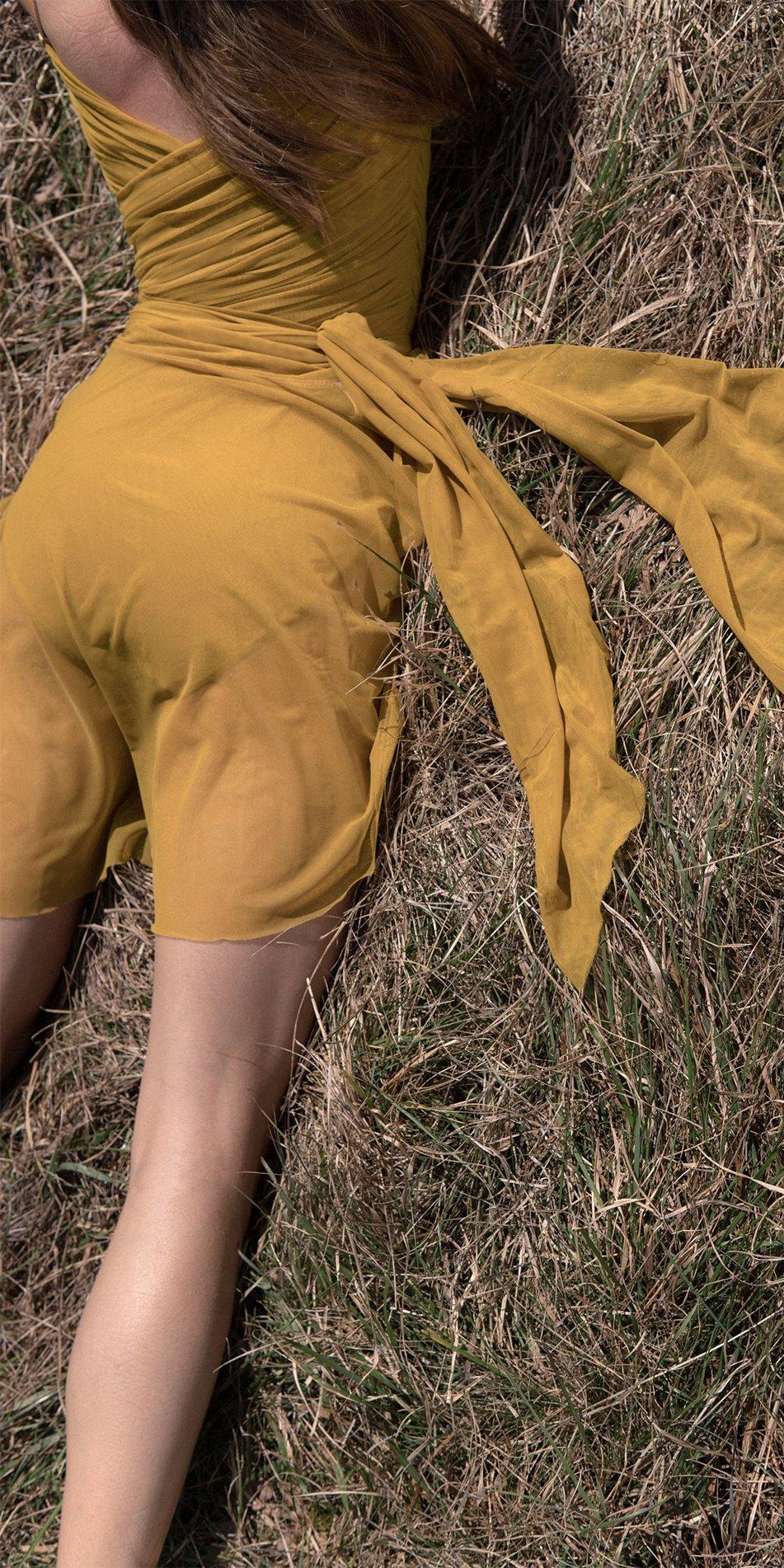 GRES mustard wrap skirt 2