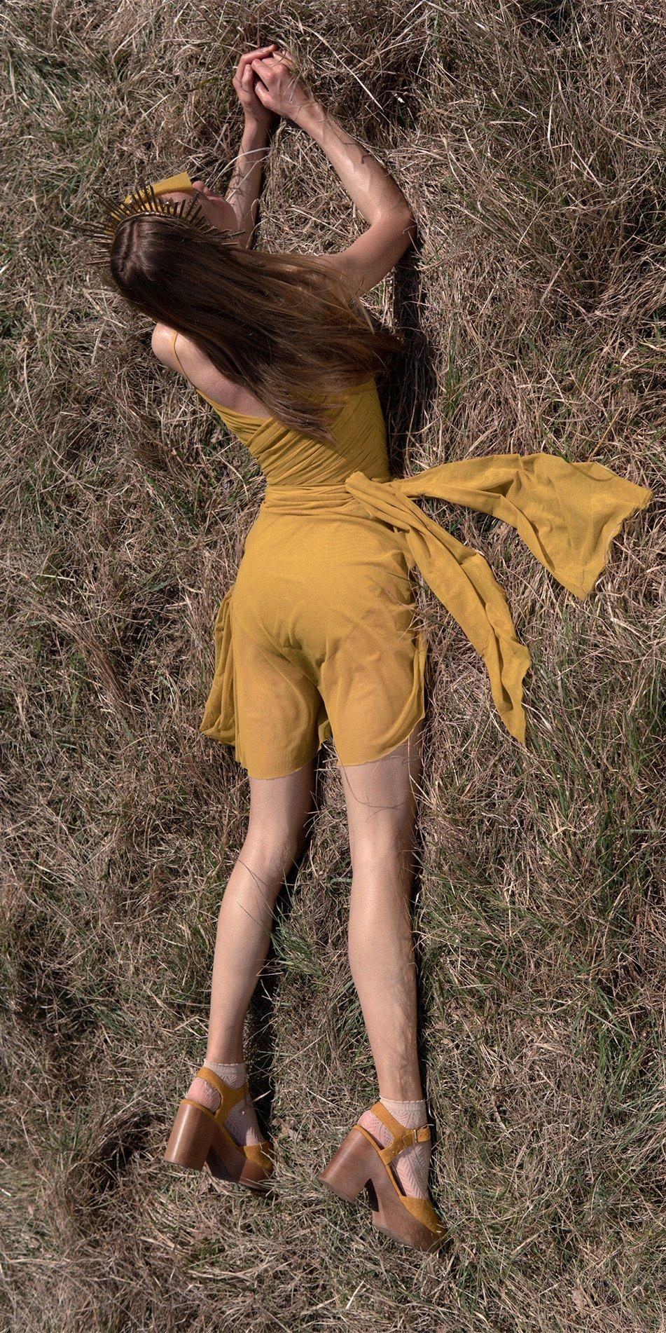 GRES mustard wrap skirt 3