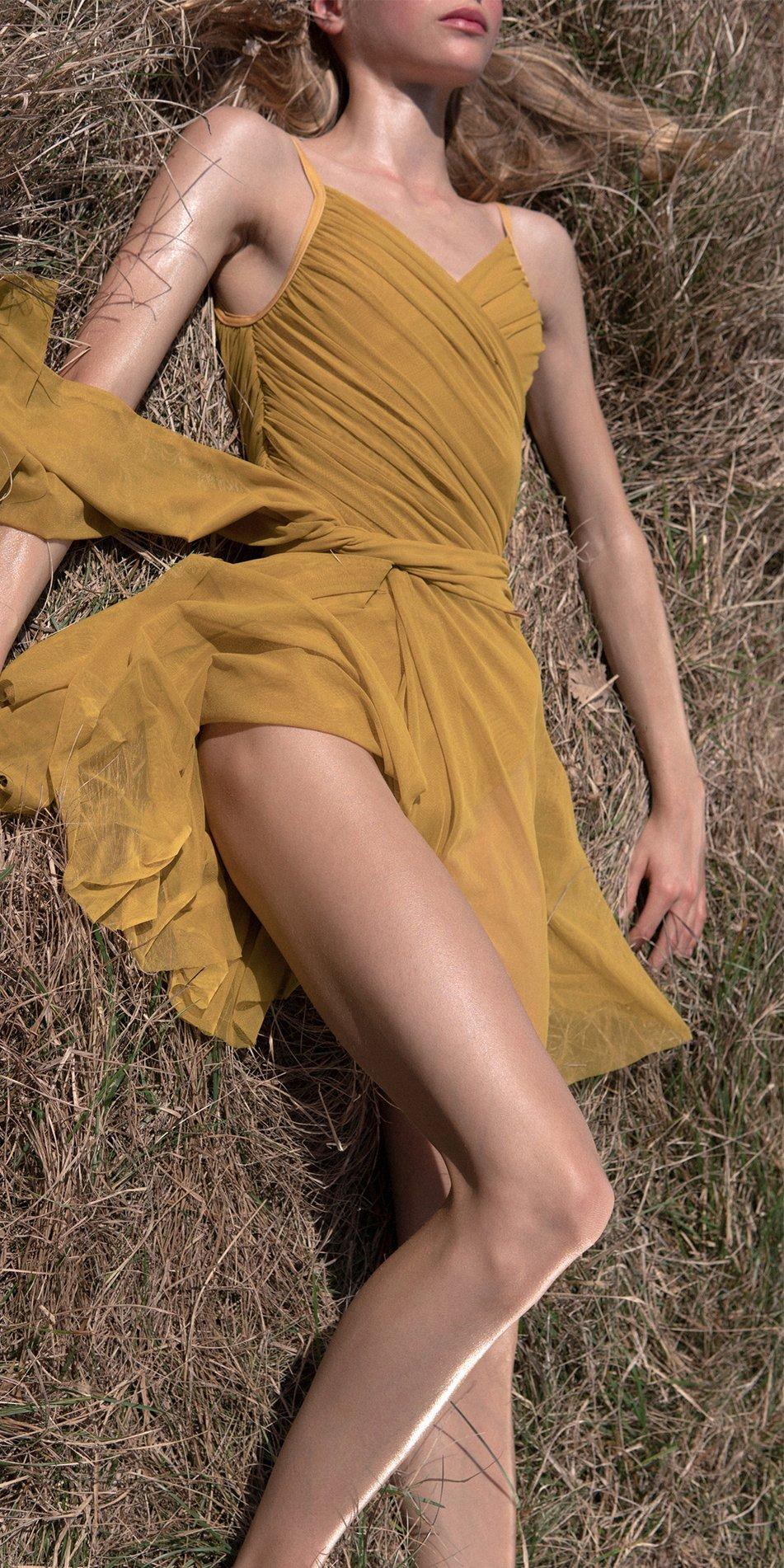 GRES mustard wrap skirt 4