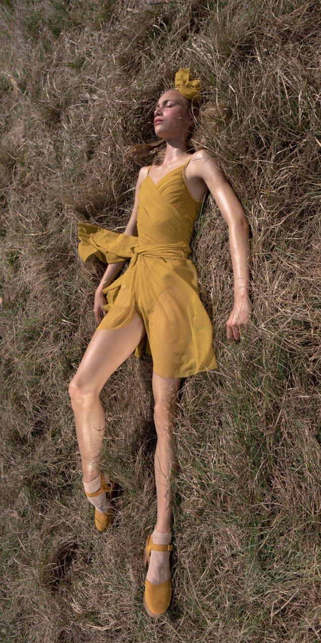 GRES mustard wrap skirt 5