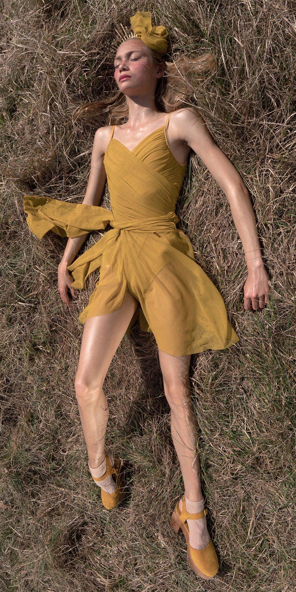 GRES mustard wrap skirt 6