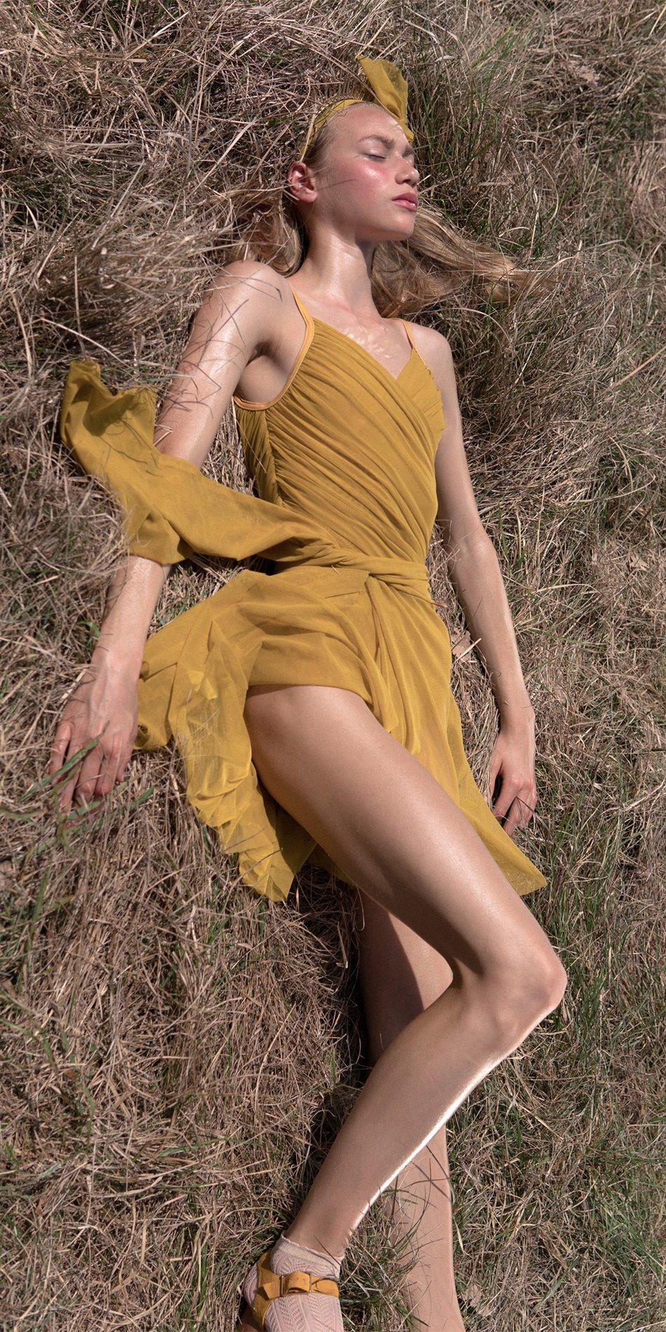 GRES mustard wrap skirt 7