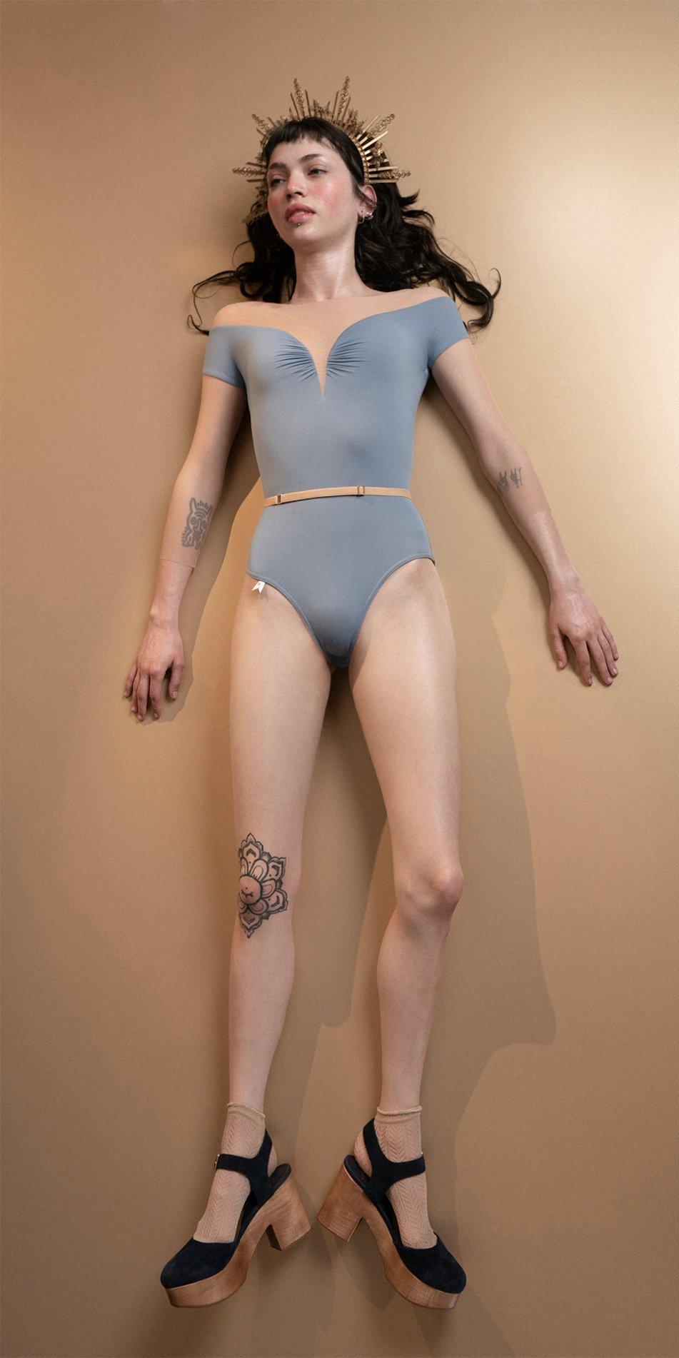 HEARTBREAKER blue off shoulder mesh decolette leotard with 34 sleeves 1