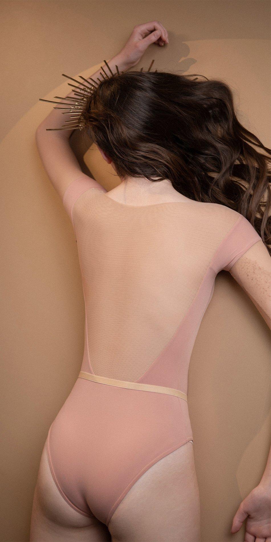 HEARTBREAKER blush off shoulder mesh decolette leotard with 34 sleeves 10