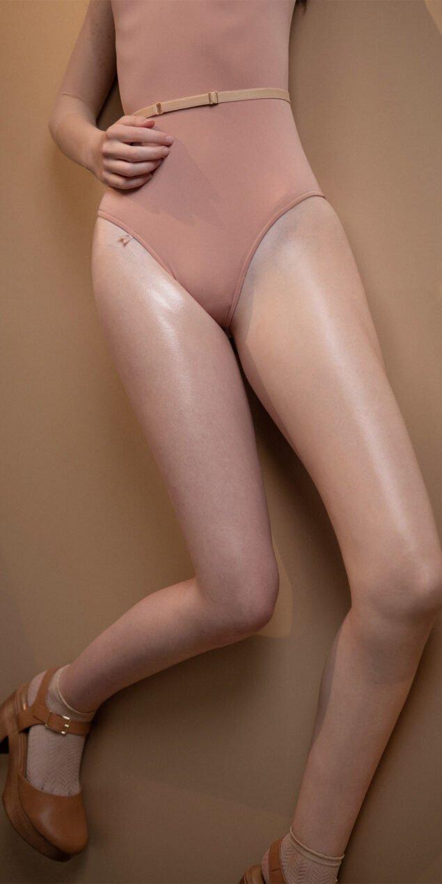 HEARTBREAKER blush off shoulder mesh decolette leotard with 34 sleeves 3
