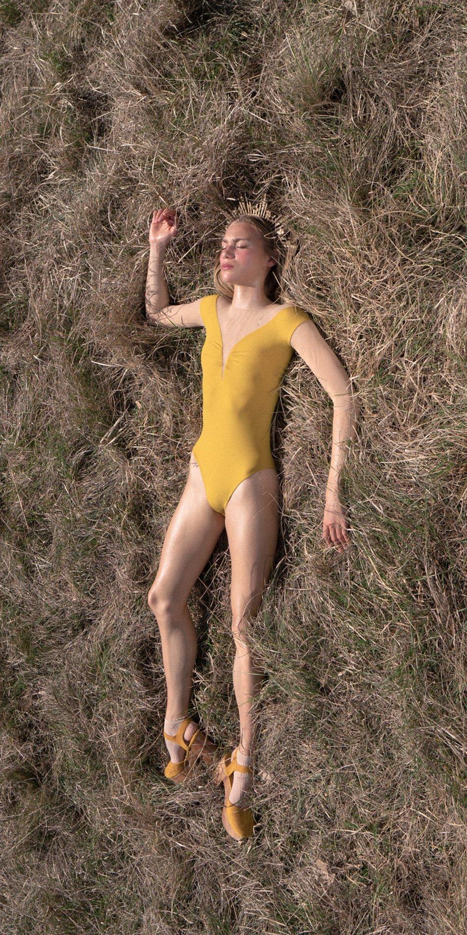 HEARTBREAKER mustard off shoulder mesh decolette leotard with 34 sleeves 1