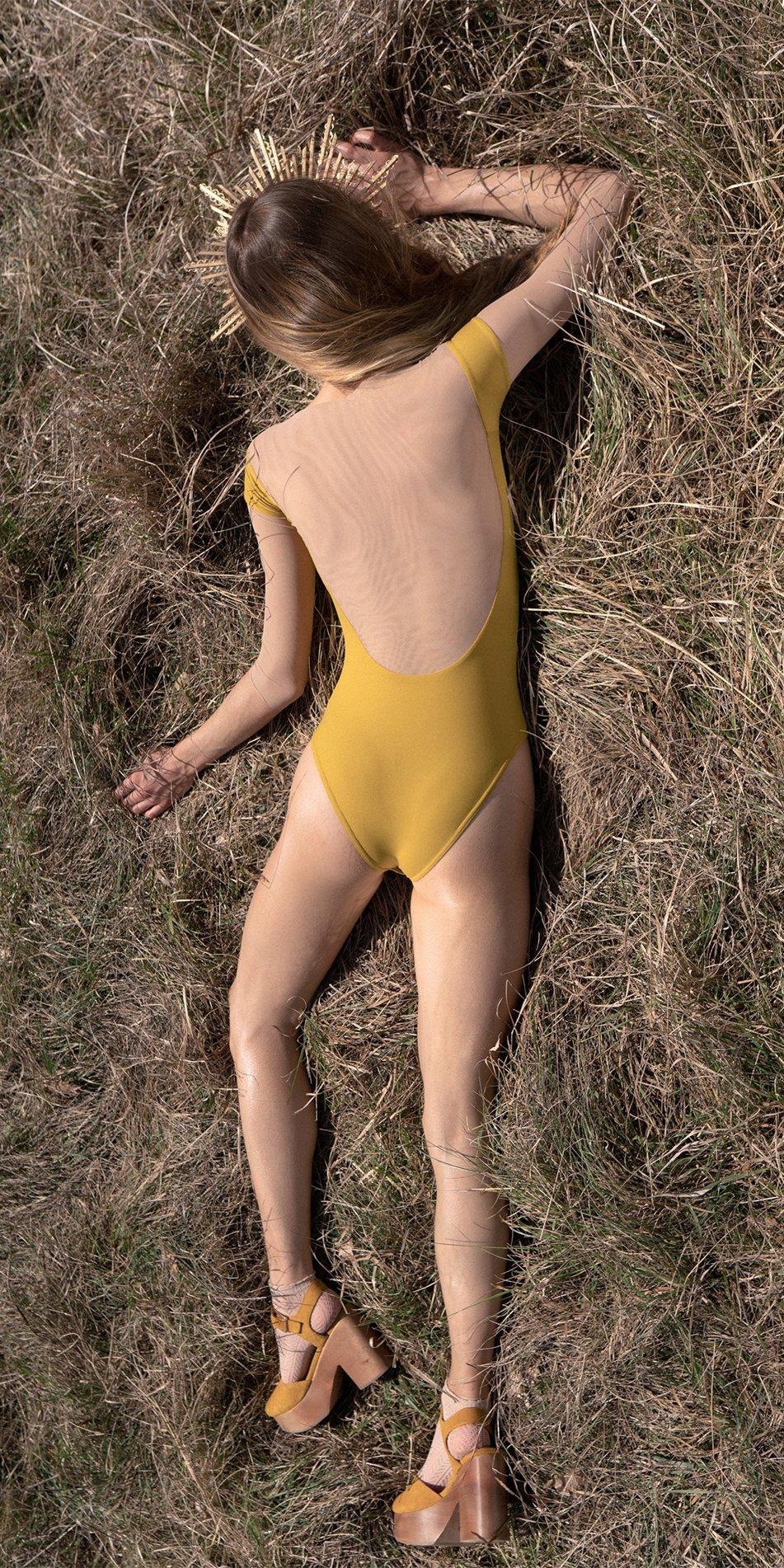 HEARTBREAKER mustard off shoulder mesh decolette leotard with 34 sleeves 4