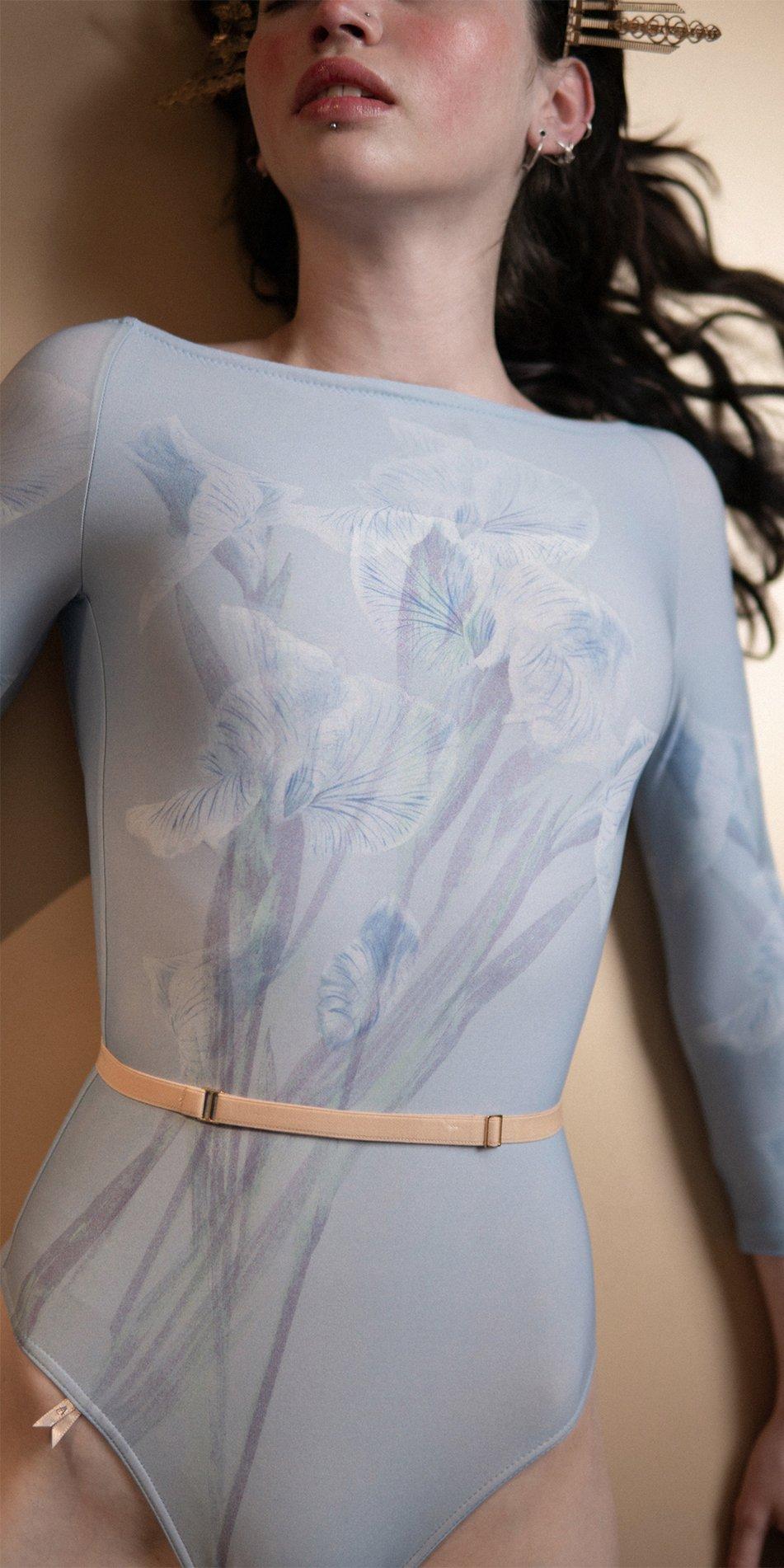 IRIS blue boatneck low back leotard 6