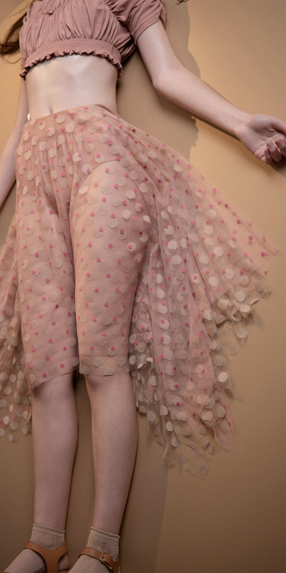 JUMBO POLKA long skirt blush nude 2