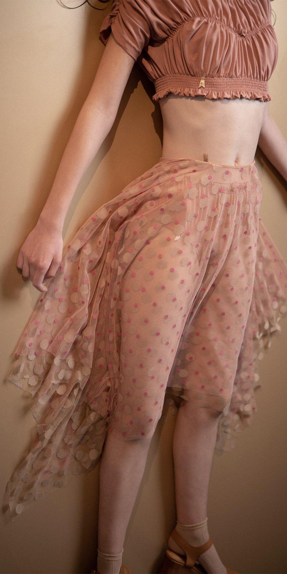 JUMBO POLKA long skirt blush nude 3