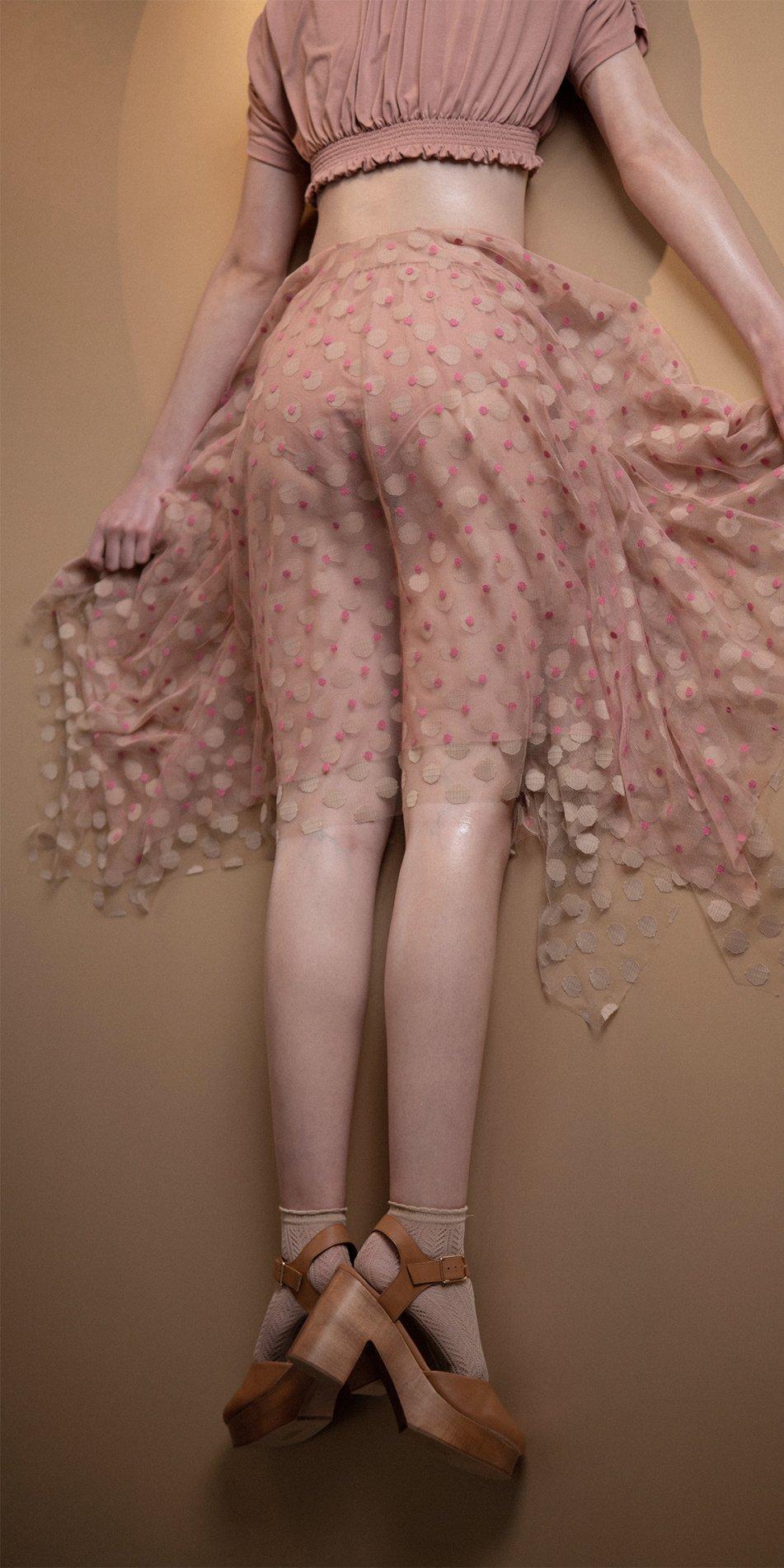JUMBO POLKA long skirt blush nude 4