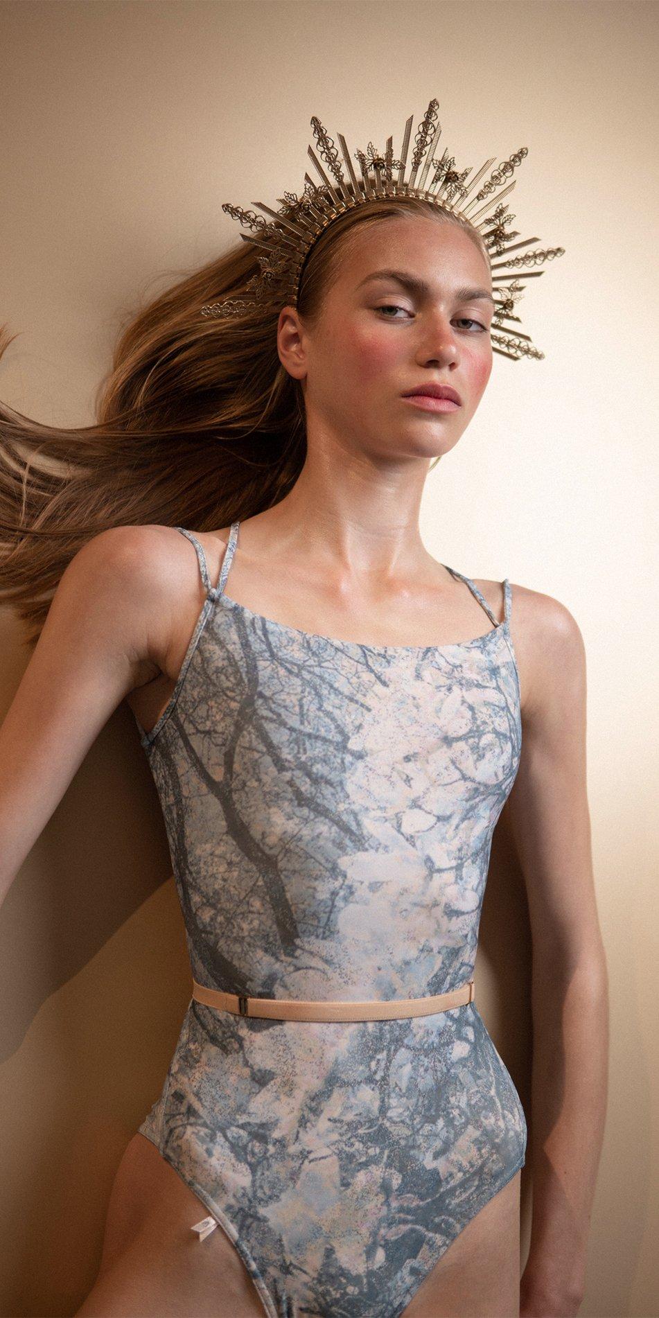 MAGNOLIA blue stringed back leotard 3