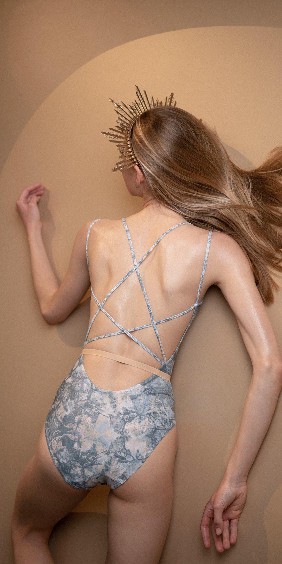 MAGNOLIA blue stringed back leotard 5