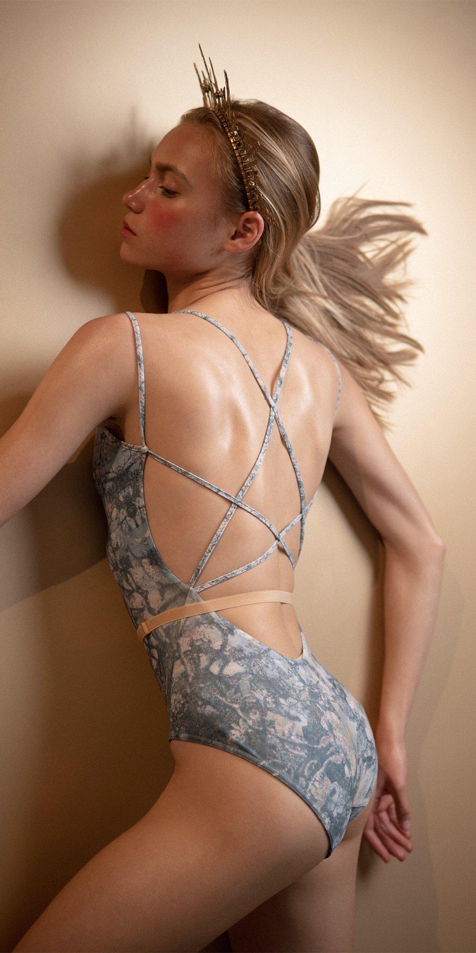 MAGNOLIA blue stringed back leotard 6