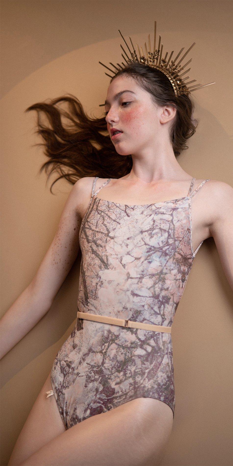 MAGNOLIA blush stringed back leotard 1