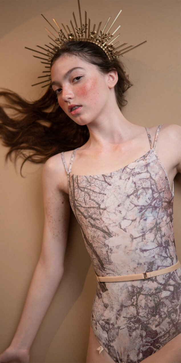 MAGNOLIA blush stringed back leotard 2