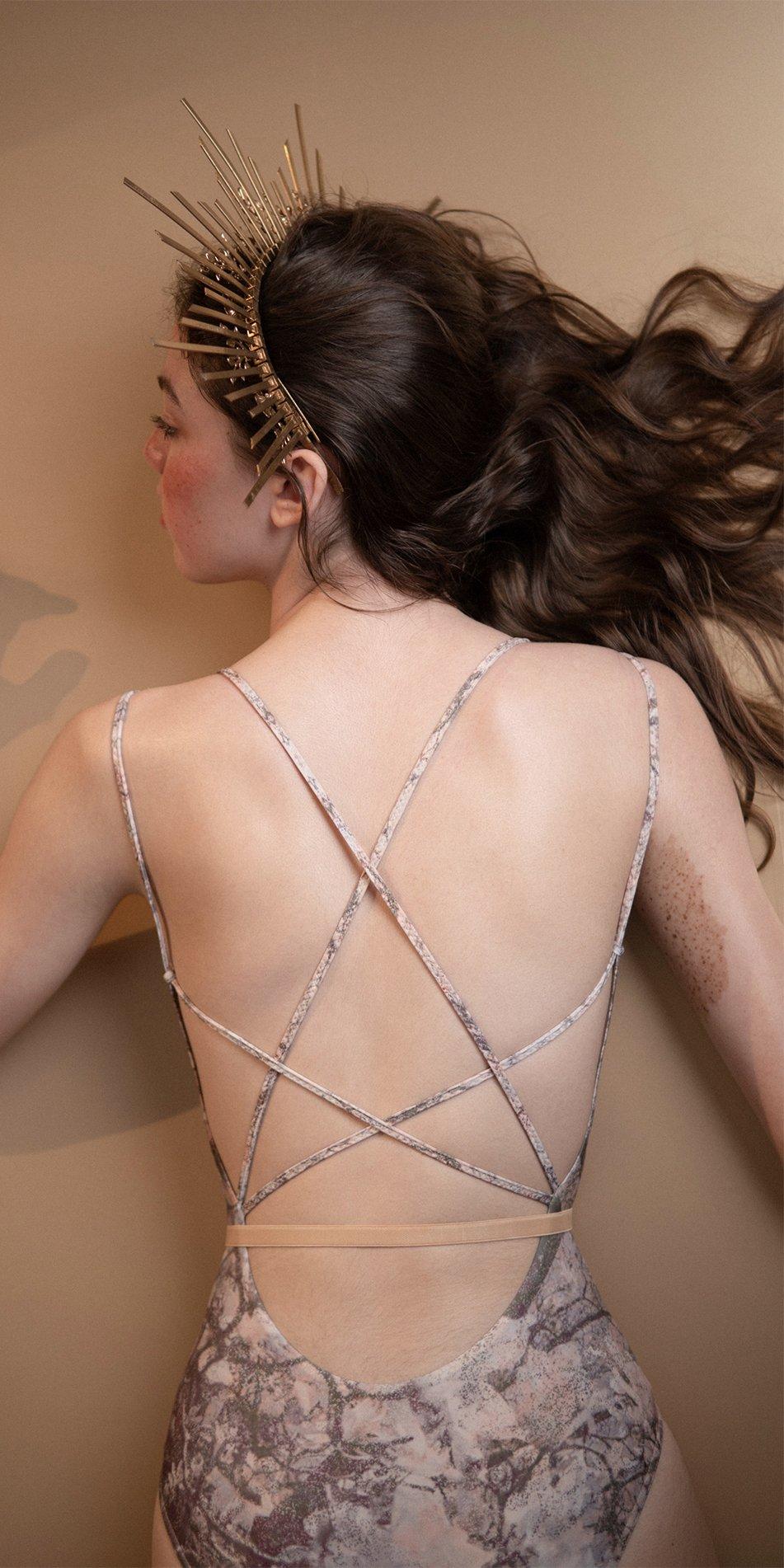MAGNOLIA blush stringed back leotard 6
