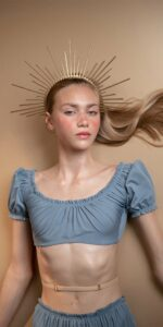 MAIDEN blue crop top with short puff sleeves 1