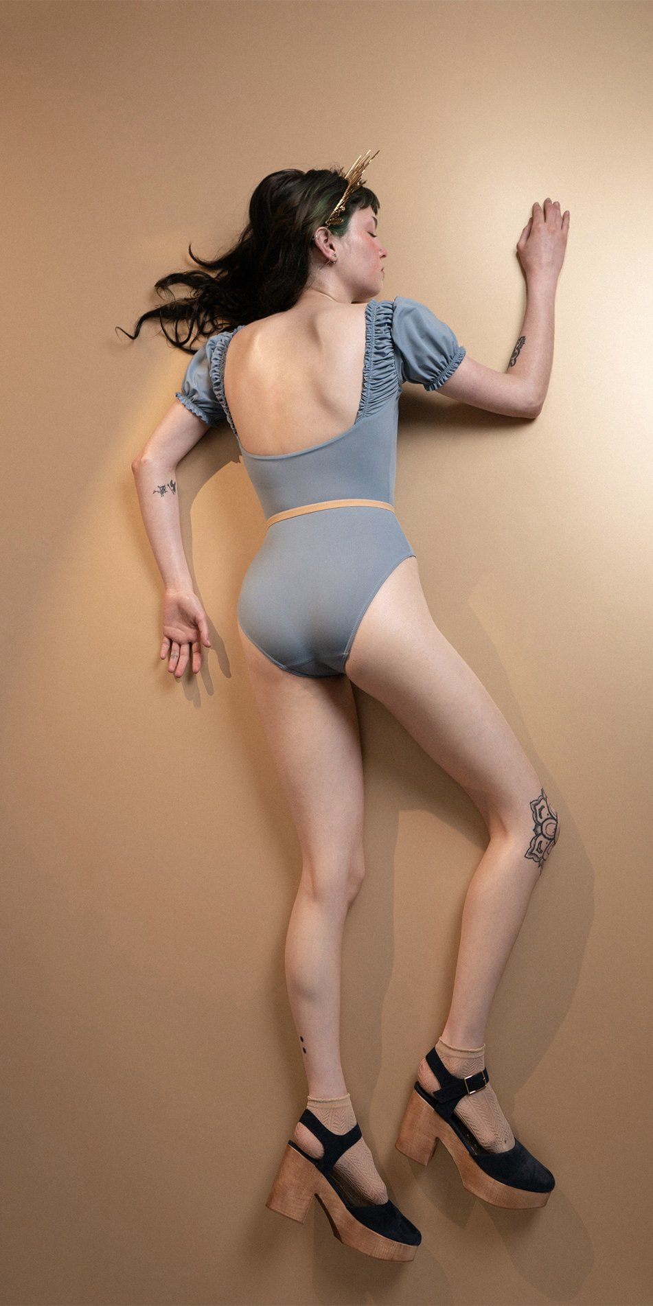 MAIDEN blue leotard with short puff sleeves 1