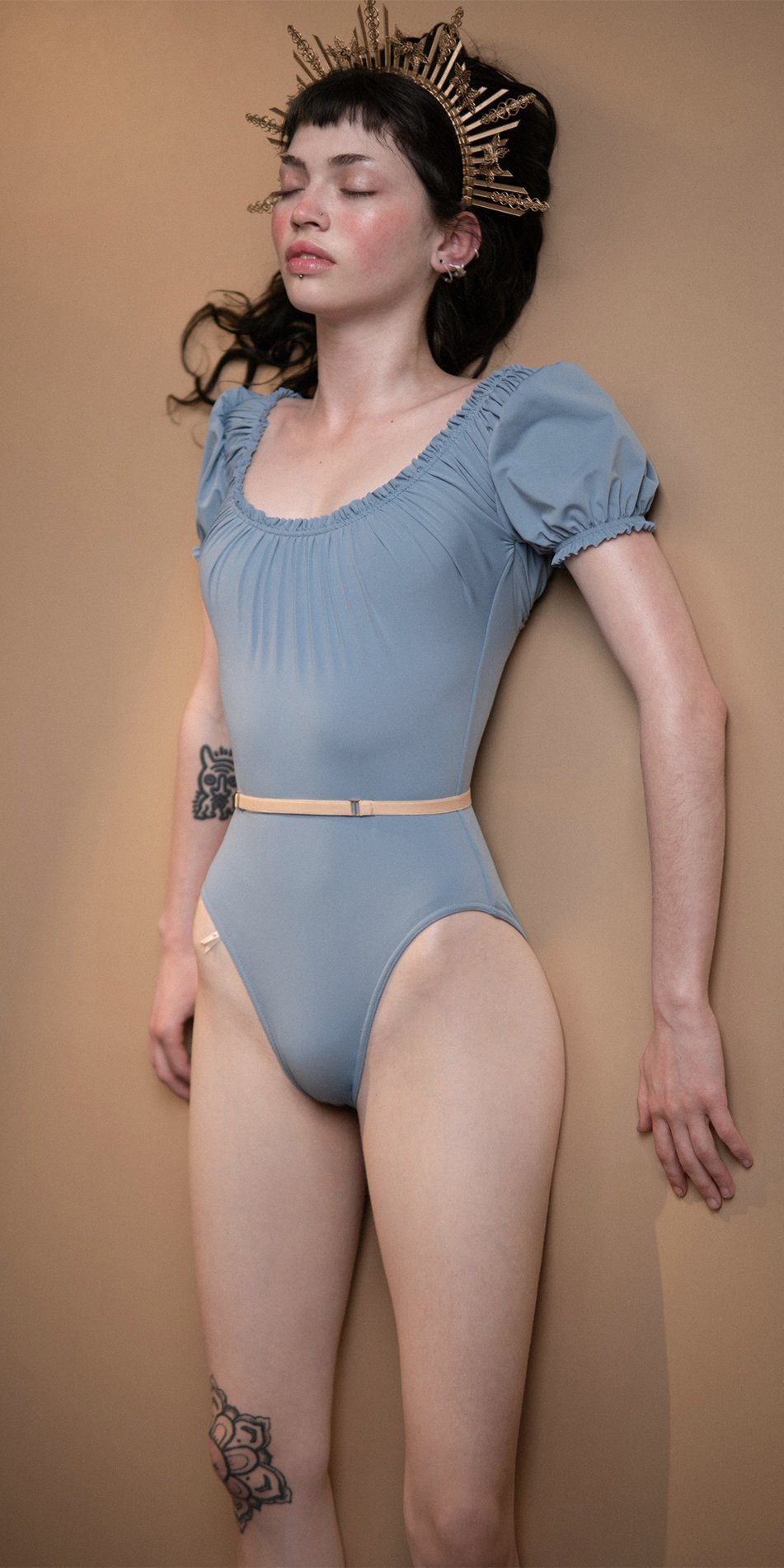 MAIDEN blue leotard with short puff sleeves 4