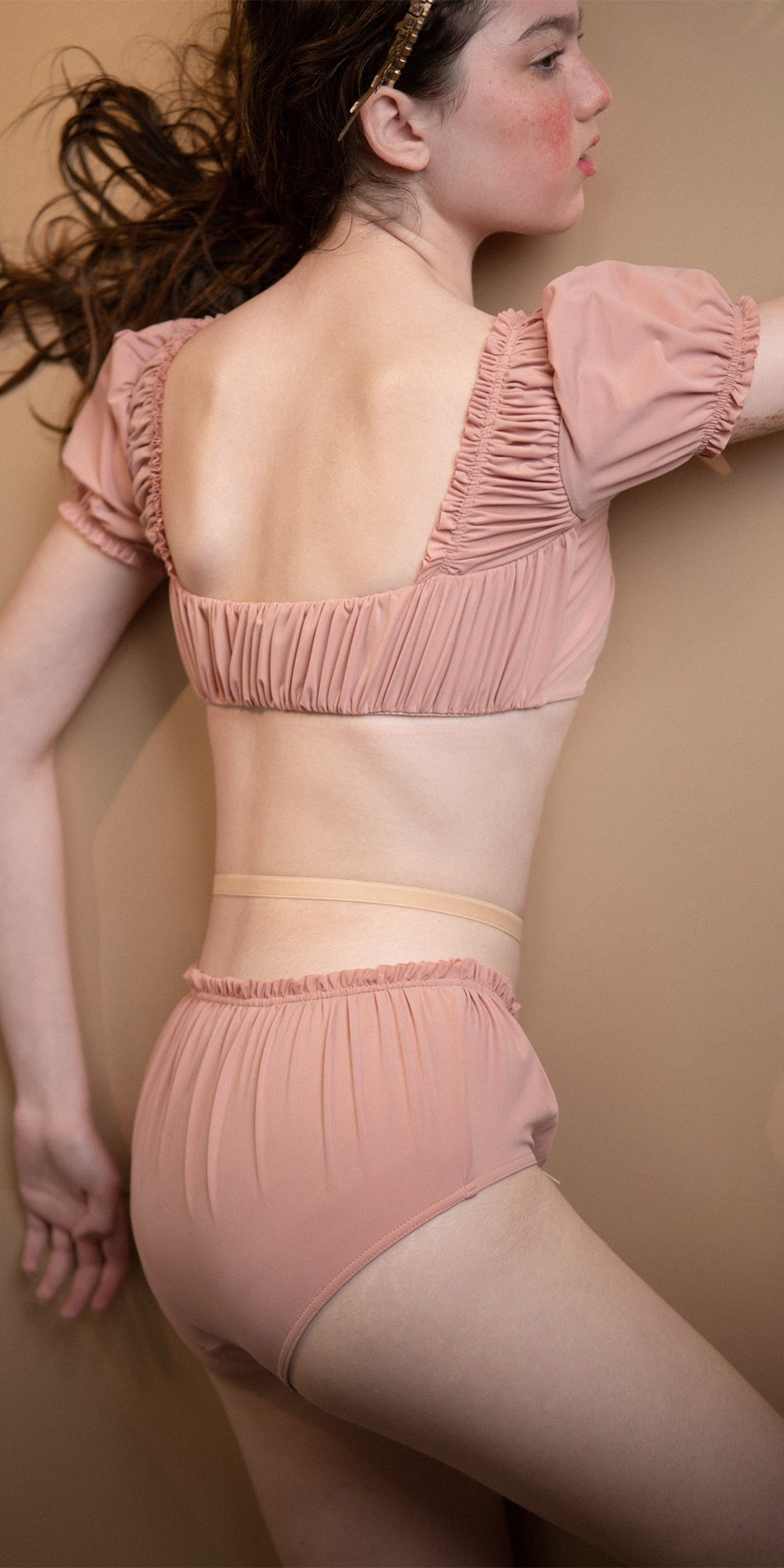MAIDEN blush crop top with short puff sleeves 8